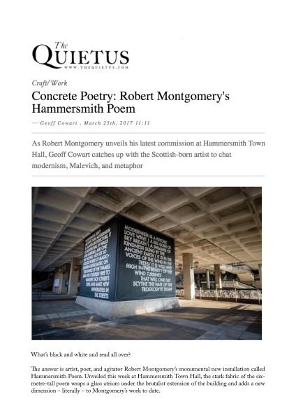 Concrete Poetry: Robert Montgomery's Hammersmith Poem