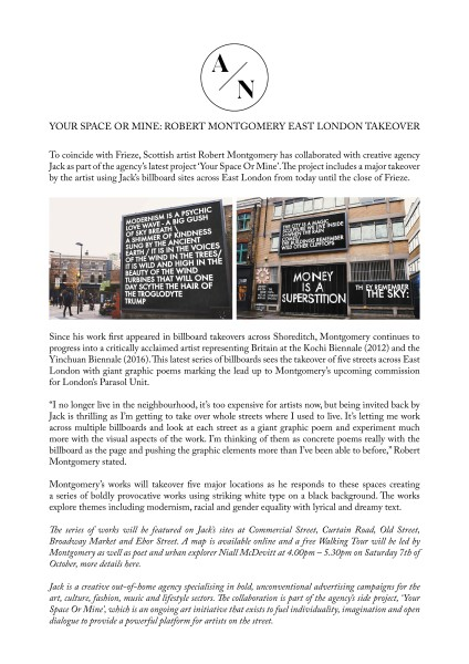 YOUR SPACE OR MINE: ROBERT MONTGOMERY EAST LONDON TAKEOVER