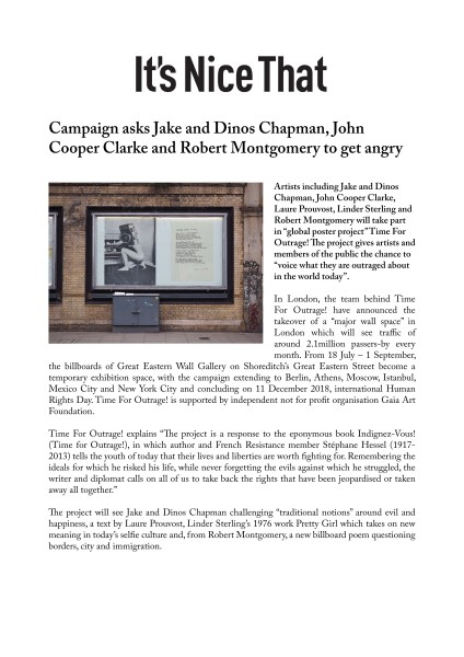 Campaign asks Jake and Dinos Chapman, John Cooper Clarke and Robert Montgomery to get angry