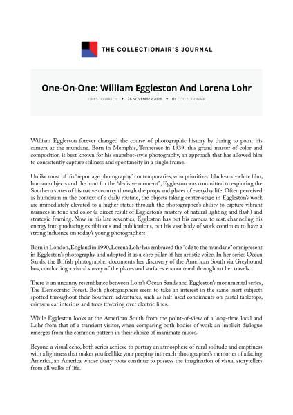 One-On-One: William Eggleston And Lorena Lohr
