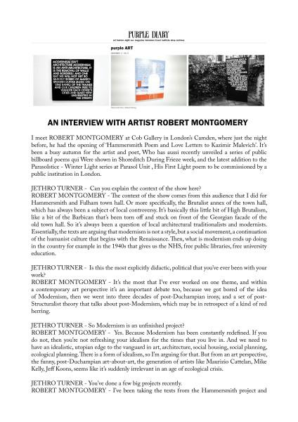 AN INTERVIEW WITH ARTIST ROBERT MONTGOMERY