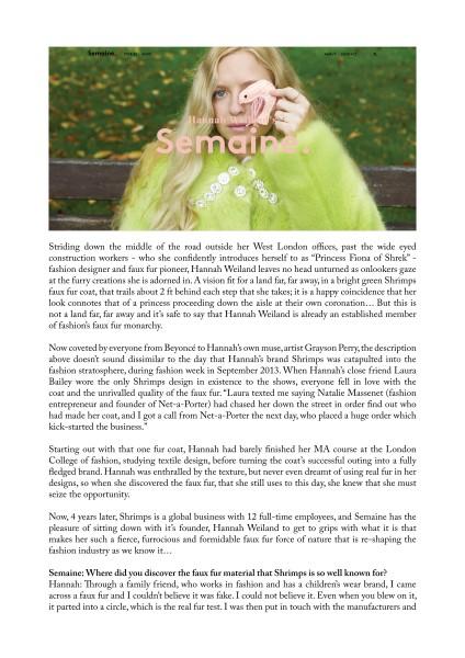 Faye Wei Wei x Shrimps SS18, Hannah Weiland interview