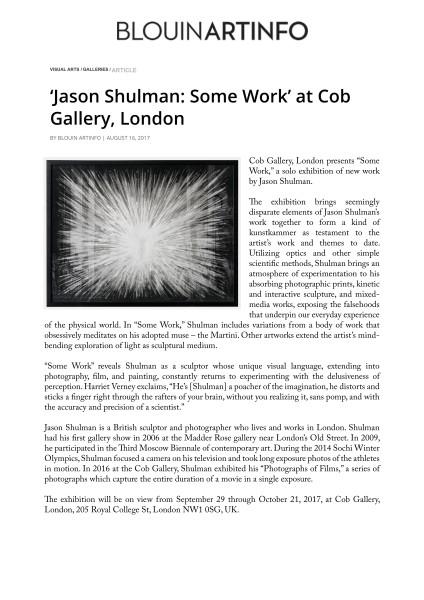 'Jason Shulman: Some Work' at Cob Gallery, London
