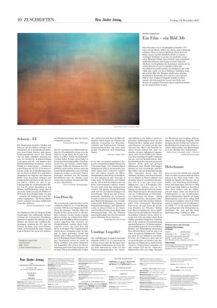 Jason Shulman's Photographs of Film series featured in Neue Zürcher Zeitung