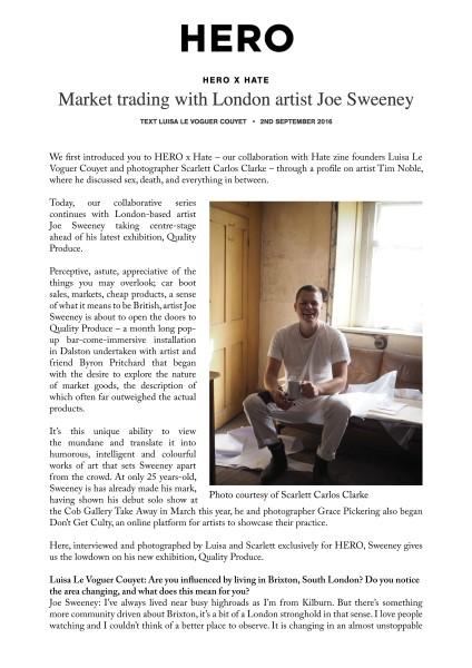 Market trading with London artist Joe Sweeney
