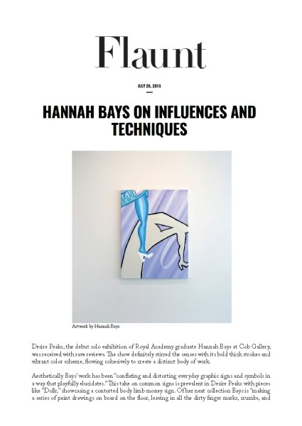 Hannah Bays on influences and techniques