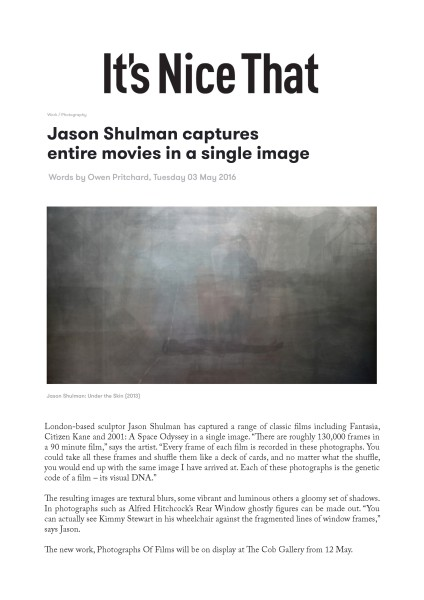 Jason Shulman captures entire movies in a single image
