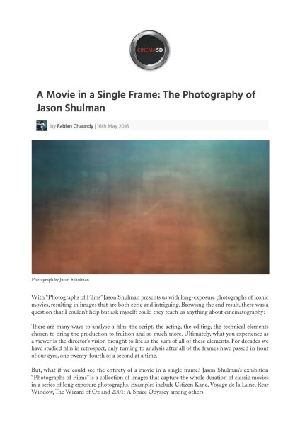 A Movie in a Single Frame: The Photography of Jason Shulman