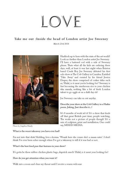 Take me out :Inside the head of London artist Joe Sweeney