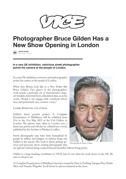 Photographer Bruce Gilden Has a New Show Opening in London