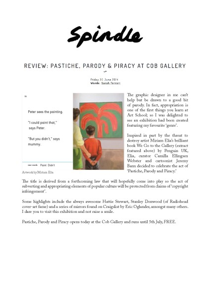 REVIEW: PASTICHE, PARODY & PIRACY AT COB GALLERY