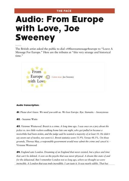 Audio: From Europe with Love, Joe Sweeney