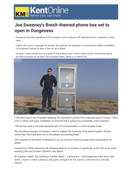 Joe Sweeney's Brexit-themed phone box set to open in Dungeness