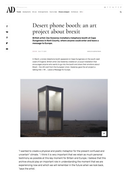 Desert phone booth: an art project about brexit