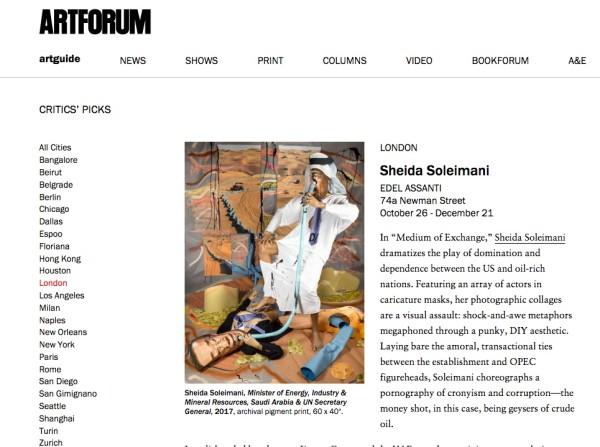Sheida Soleimani in Artforum
