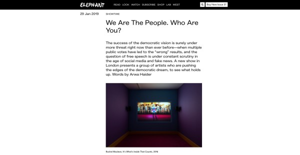 'We are the people. Who are you' in Elephant Magazine