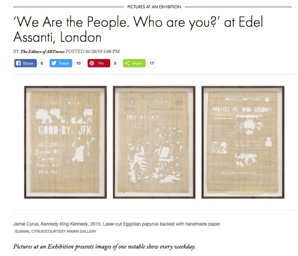 'We are the people. Who are you?' in ARTnews