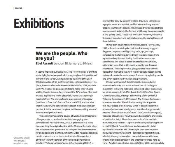 'We are the people. Who are you?' in Art Monthly