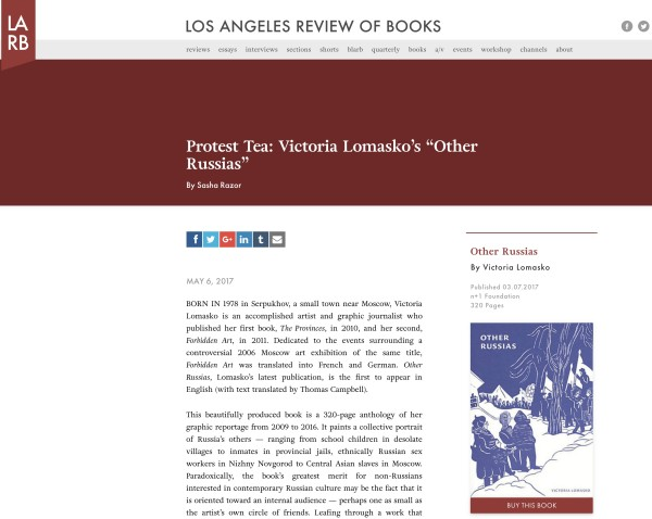 Victoria Lomasko in the Los Angeles Review of Books