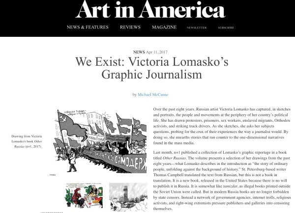 Victoria Lomasko in Art in America