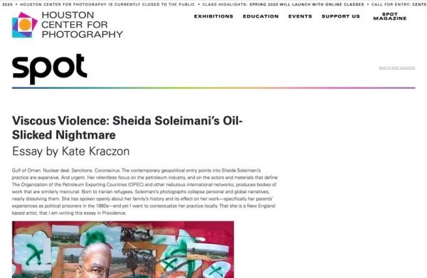 Sheida Soleimani in SPOT Magazine: Houston Center for Photography
