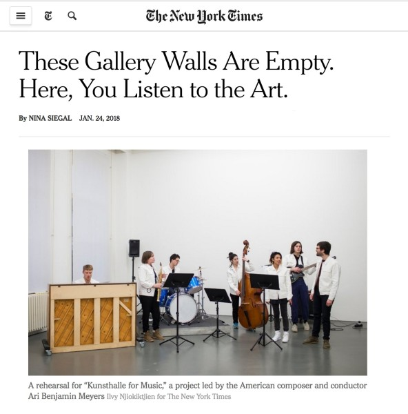 Kunsthalle for Music featured in The New York Times