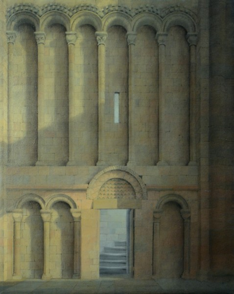 Steps to the spire, Norwich Cathedral (oil), 2017