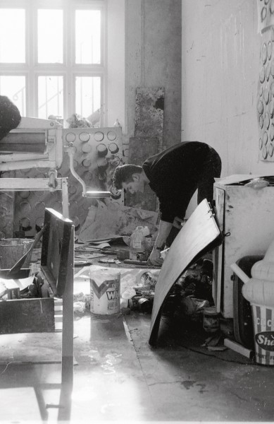 The artist in his studio, Goldsmiths College of Art, London, 1988