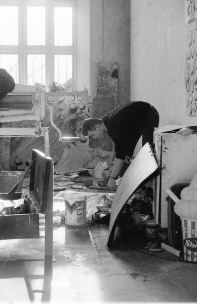 The artist in his studio, Goldsmiths College of Art, London, 1988