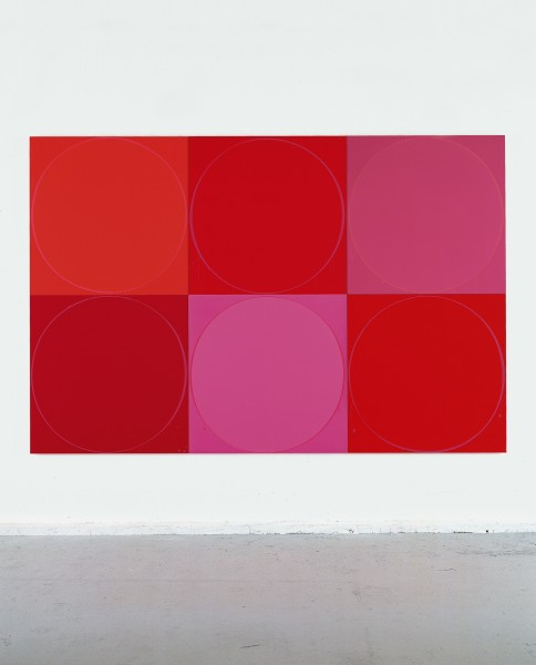 Untitled Circle Painting: 6 Various Red Panels, 2003