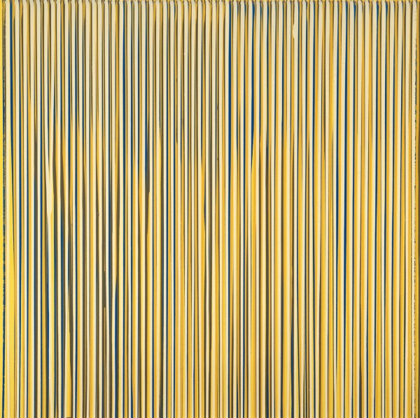 Poured Lines: Pale Lemon, Blue, Yellow, Beige, Cream, 1993