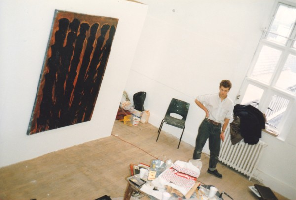 Ian installing his Degree Show at Goldsmiths, 1988