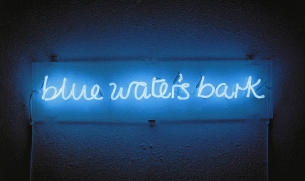 Ian Hamilton Finlay Blue Water's Bark 1993 neon, with Julie Farthing