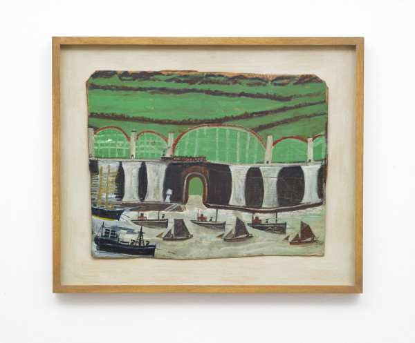 Saltash Viaduct Alfred Wallis c. 1938 yacht paint on card 45.5 x 58.5 cm