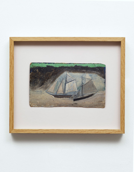 Two Boats in a Bay Alfred Wallis c. 1939-40 yacht paint on card 16 x 27 cm