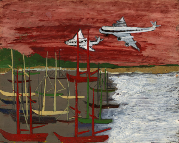 Aeroplanes and Boats Frank Walter oil on card 21 x 26.5 cm