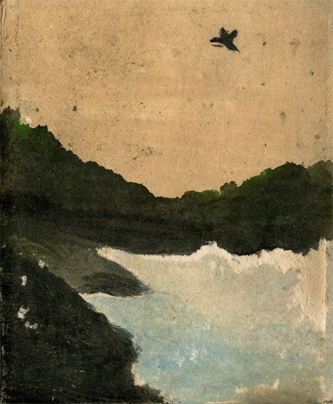 Landscape Series, Scotland: Bay and Bird Frank Walter oil on Polaroid card 9.8 x 8 cm