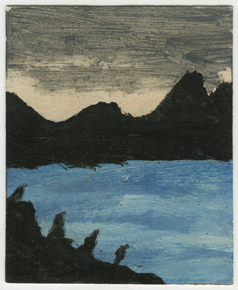 Landscape Series, Scotland: Black Birds and Chilly Sea Frank Walter oil on Polaroid card 9.8 x 8 cm