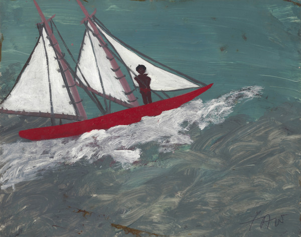 Self-Portrait with Sail Boat Frank Walter c.1980 oil on card 20 x 25.2 cm