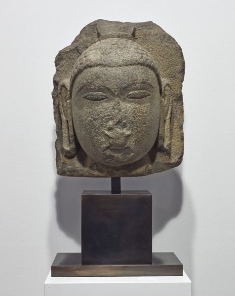 Monumental volcanic stone head of Buddha Sri Lanka, late Anuradhapura Period, 10th century