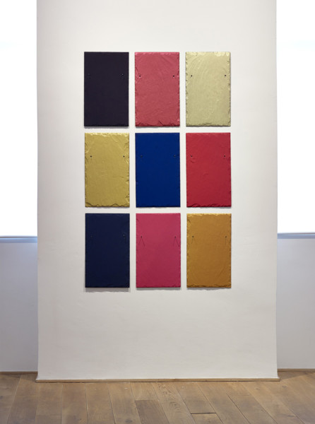 Winston Roeth Reason to Believe, 2012 tempera on 9 slate tiles 161 x 99.6 cm overall