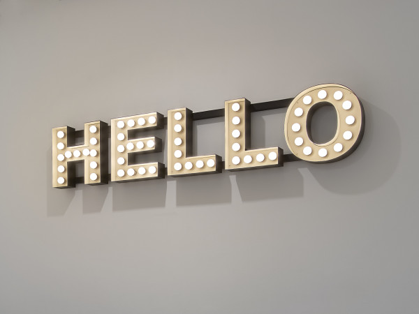 Peter Liversidge Hello, 2012 54 low energy bulbs, powder coated steel, motion activated sensor 40 x 200 x 18 cm
