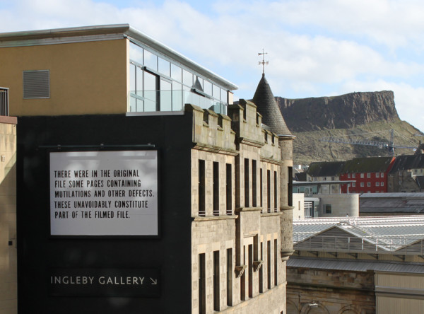 View of Jamie Shovlin's 10 x 13.3 ft Billboard for Edinburgh installation