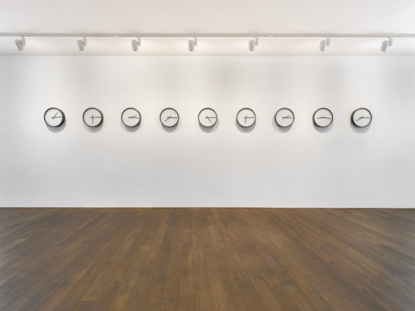 Timepieces (Solar System) 2014 nine adapted clocks edition of 9 45 x 45 x 9.5 cm each part