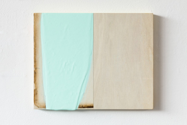 Jane Bustin Tablet II, 2014 acrylic, gesso, paper on wood 20 cm x 24.5 cm