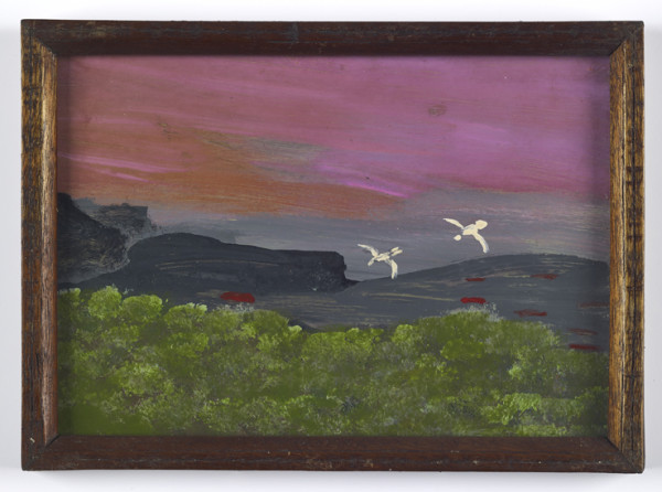Birds in Flight 1968-76 oil on card with original frame 18.3 x 13.2 cm (page size) 19.5 x 14 cm (framed)