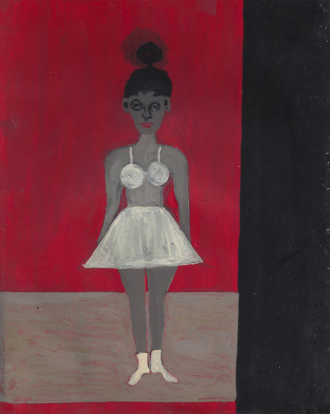 Ballerina in a Trance oil on card 25.3 x 20 cm (page size)
