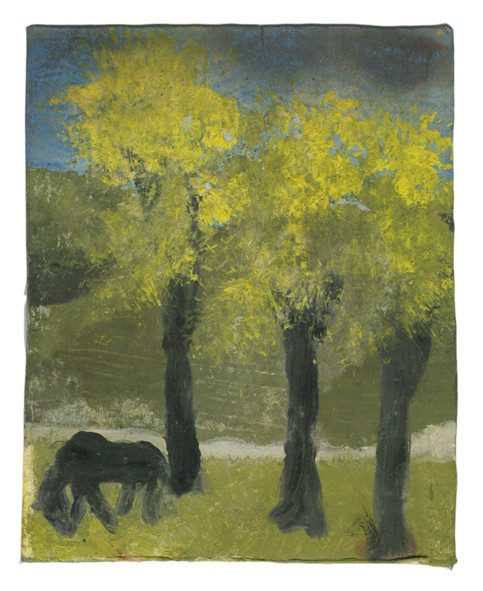 Landscape Series, Antigua: Three trees and Horse oil on Polaroid card (page size) 10 x 8.5 cm 32.2 x 29.7 cm (framed)