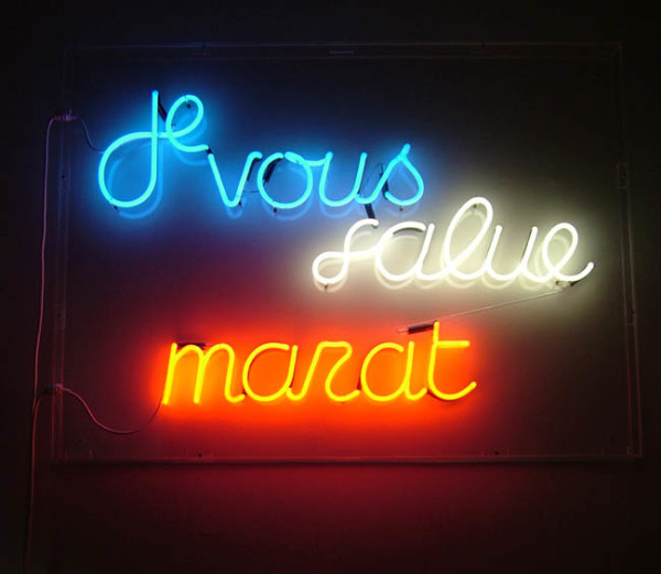 Je Vous Salue Marat 1989 neon, with Julie Farthing