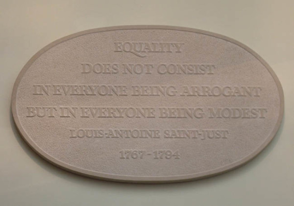 Equality Does not Consist in Everyone Being Arrogant but in Everyone Being Modest 1993 oval stone wall plaque, with Annet Stirling 80 x 47.7 x 3.3cm